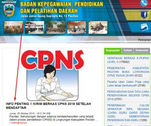 Pengumuman Hasil Tes SKD CPNS Kabupaten Pacitan 2018