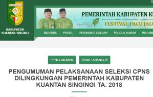 Pengumuman Hasil Tes SKD CPNS Kabupaten Kuantan Singingi 2018