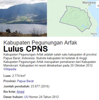 Pengumuman CPNS Kabupaten Arfak 2021 Lulusan SMA SMK D3 S1 S2
