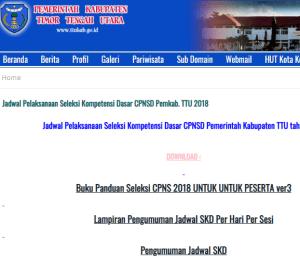 Pengumuman Hasil Tes SKD CPNS Kabupaten Timor Tengah Utara 2018