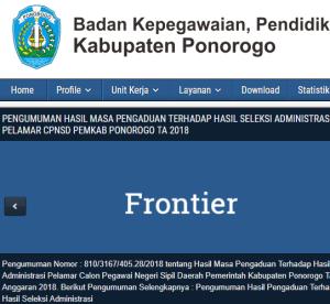 Pengumuman Hasil Tes SKD CPNS Kabupaten Ponorogo 2018