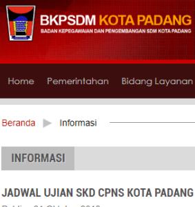 Pengumuman Hasil Tes SKD CPNS Kota Padang 2018