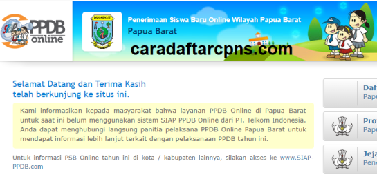 Jadwal Pendaftaran PPDB SMA SMK Negeri Provinsi Papua Barat 2021