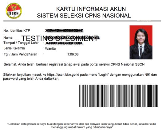 Kartu informasi akun CPNS