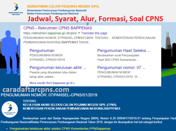 Jadwal Pendaftaran CPNS 2021 BAPPENAS Lulusan SMA SMK D3 S1 S2