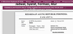 Pendaftaran CPNS 2019 Kejaksaan