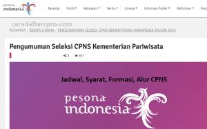 Pengumuman Hasil SKB CPNS Kemenpar Formasi 2019