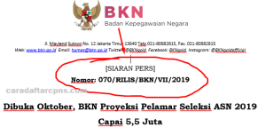 Jadwal Pendaftaran CPNS 2019 Bulan Oktober