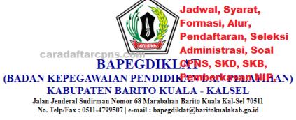 Pengumuman CPNS Kabupaten Barito Kuala 2021 Lulusan SMA SMK D3 S1 S2