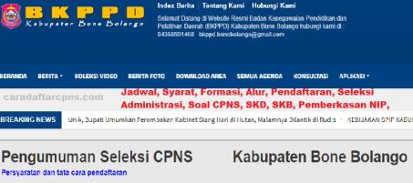 Pengumuman CPNS Kabupaten Bone Bolango 2021 Lulusan SMA SMK D3 S1 S2