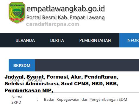 Pendaftaran Cpns Kabupaten Empat Lawang 2019 Jadwal Syarat Skd
