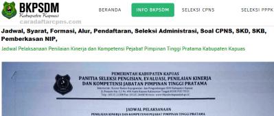 Pengumuman CPNS Kabupaten Kapuas 2021 Lulusan SMA SMK D3 S1 S2