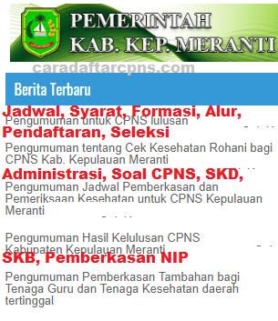 Pengumuman CPNS Kabupaten Meranti 2021 Lulusan SMA SMK D3 S1 S2
