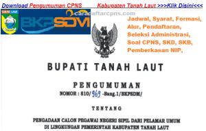 Pengumuman Hasil SKB CPNS Kabupaten Tanah Laut Formasi 2019