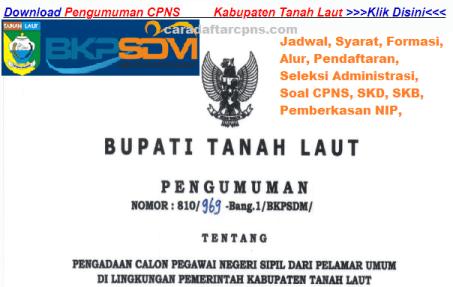 Pengumuman CPNS Kabupaten Tanah Laut 2021 Lulusan SMA SMK D3 S1 S2