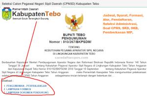 Jadwal SKB CPNS Kabupaten Tebo 2019 2020