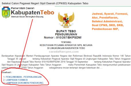 Pengumuman CPNS Kabupaten Tebo 2021 Lulusan SMA SMK D3 S1 S2