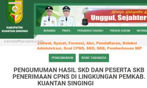 Pengumuman Hasil SKB CPNS Kabupaten Kuantan Singingi Formasi 2019