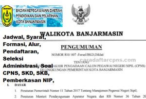 Jadwal Pendaftaran CPNS Kota Banjarmasin 2021 Lulusan SMA SMK D3 S1 S2