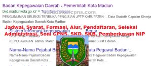 Pengumuman Hasil SKB CPNS Pemkot Madiun Formasi 2019