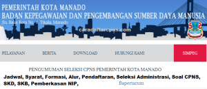 Jadwal Pendaftaran CPNS Kota Manado 2021 Lulusan SMA SMK D3 S1 S2