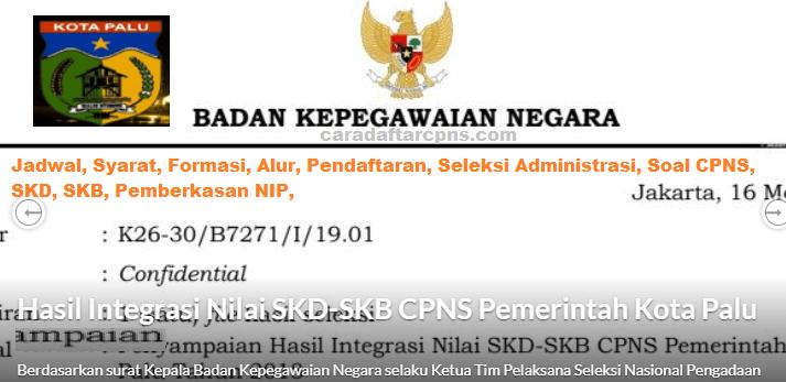Hasil Seleksi Administrasi CPNS Pemkot Palu 2021