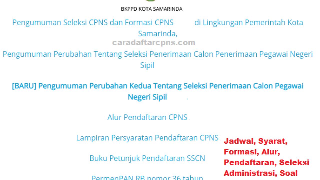 Cpns 2019 Kota Samarinda Lulusan Sma Smk D2 D3 S1 S2 S3