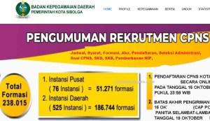 Jadwal Pendaftaran CPNS Kota Sibolga 2021 Lulusan SMA SMK D3 S1 S2