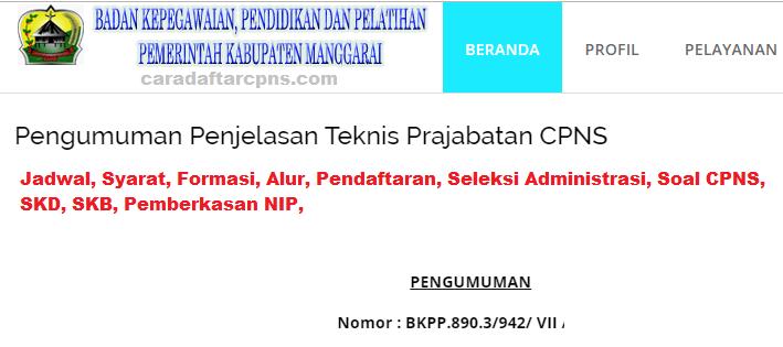 Pengumuman Hasil Akhir CPNS Kabupaten Manggarai Formasi 2019