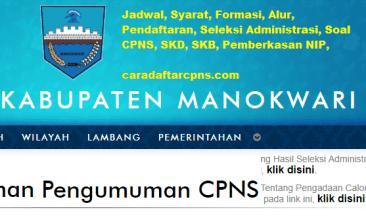 Pengumuman CPNS Kabupaten Manokwari 2021 Lulusan SMA SMK D3 S1 S2