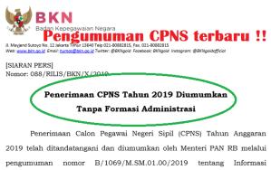 Penerimaan CPNS Tahun 2019 Tanpa Formasi Administrasi