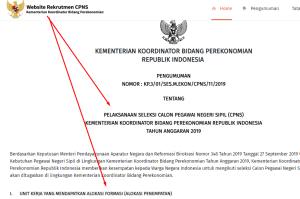 Pengumuman Hasil SKB CPNS Kemenko Perekonomian Formasi 2019