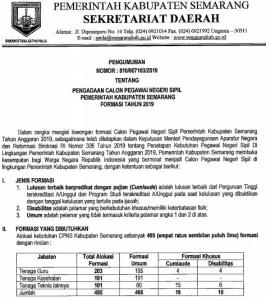 Pengumuman Hasil SKB CPNS Kabupaten Semarang Formasi 2019