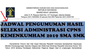 Pengumuman Hasil Seleksi CPNS 2019 Kemenkumham Lulusan SMA SMK