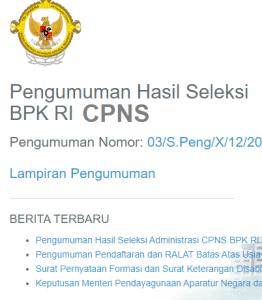Pengumuman Hasil SKB CPNS BPK Formasi 2019