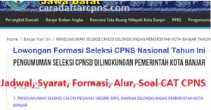 Jadwal Pendaftaran CPNS Pemkot Banjar 2021 Lulusan SMA SMK D3 S1 S2