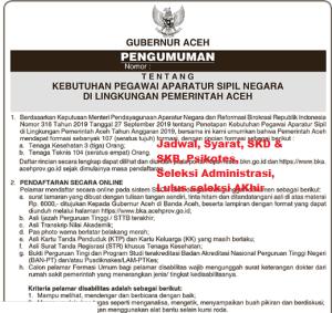 Pengumuman Hasil SKB CPNS Pemprov Aceh Formasi 2019