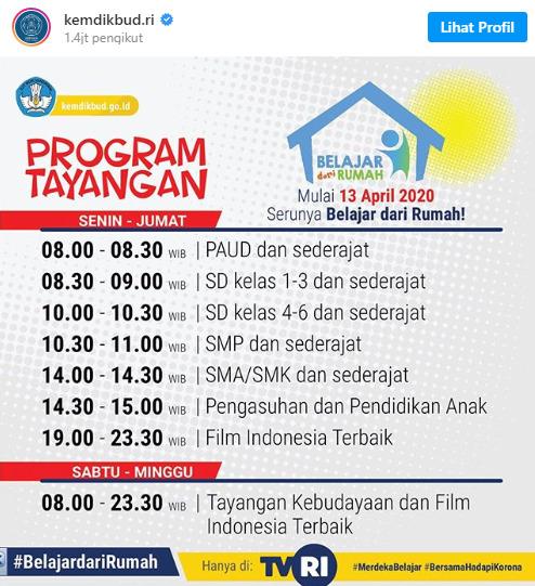 Jadwal Lengkap Belajar di Rumah Melalui TVRI