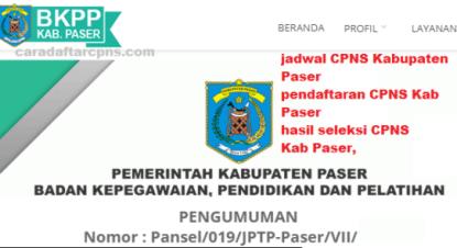 Pengumuman CPNS Kabupaten Paser 2021 Lulusan SMA SMK D3 S1 S2