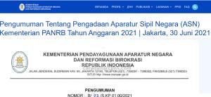 Pengumuman CPNS Kemenpan RB 2021 SMA SMK D3 S1