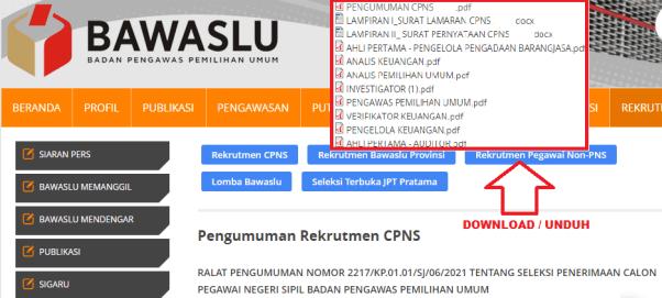 Hasil Seleksi Administrasi CPNS BASWASLU 2021