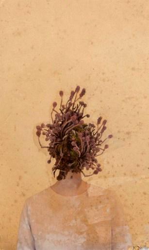 Selbstportrait: Zustand #2 (Pflänzchen), Mischtechnik auf Papier