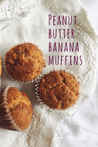 Fast peanut butter banana muffins recipe that has no white sugar and is easy and fun to make, also with kids!
