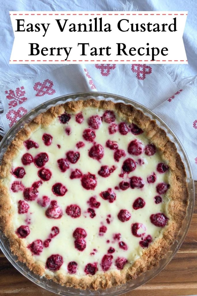 Easy berry tart with super creamy vanilla filling with mascarpone and Greek yogurt. Great with fresh raspberries!
