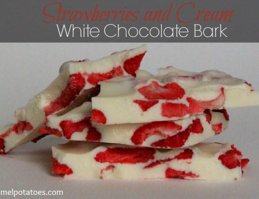 strawberries and cream white chocolate bark