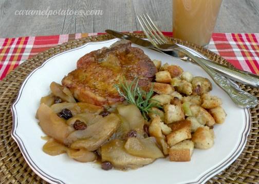 cider pork chops with baked apples 064