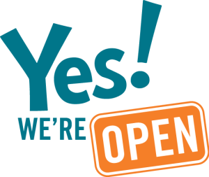 yes we are open logo