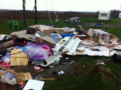 Debris from the tornado