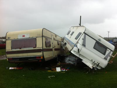 Hobby rolled in to other caravan