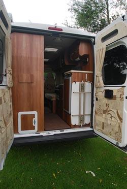 view through rear doors